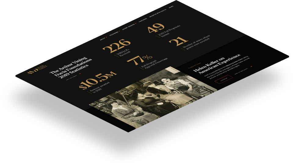 Website development for Arthur Vining Davis Foundation by Push10