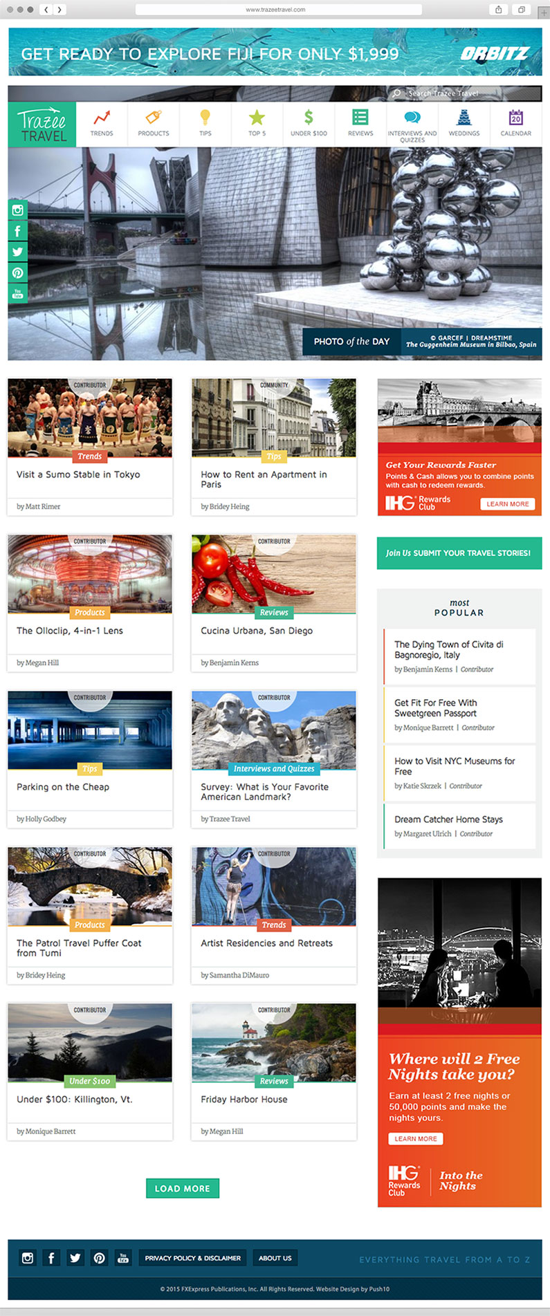 Custom designed post styles for blogs and articles for a trendy travel website by Push10.