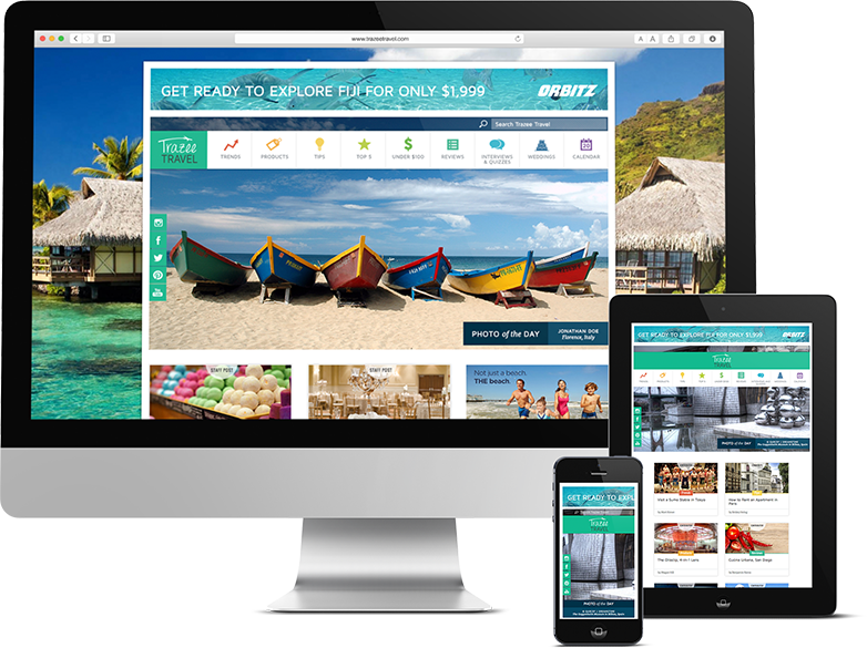 Responsive Design for all sizes on devices for a travel company by Push10, trazee travel, trazee travel website, travel website, travel website design
