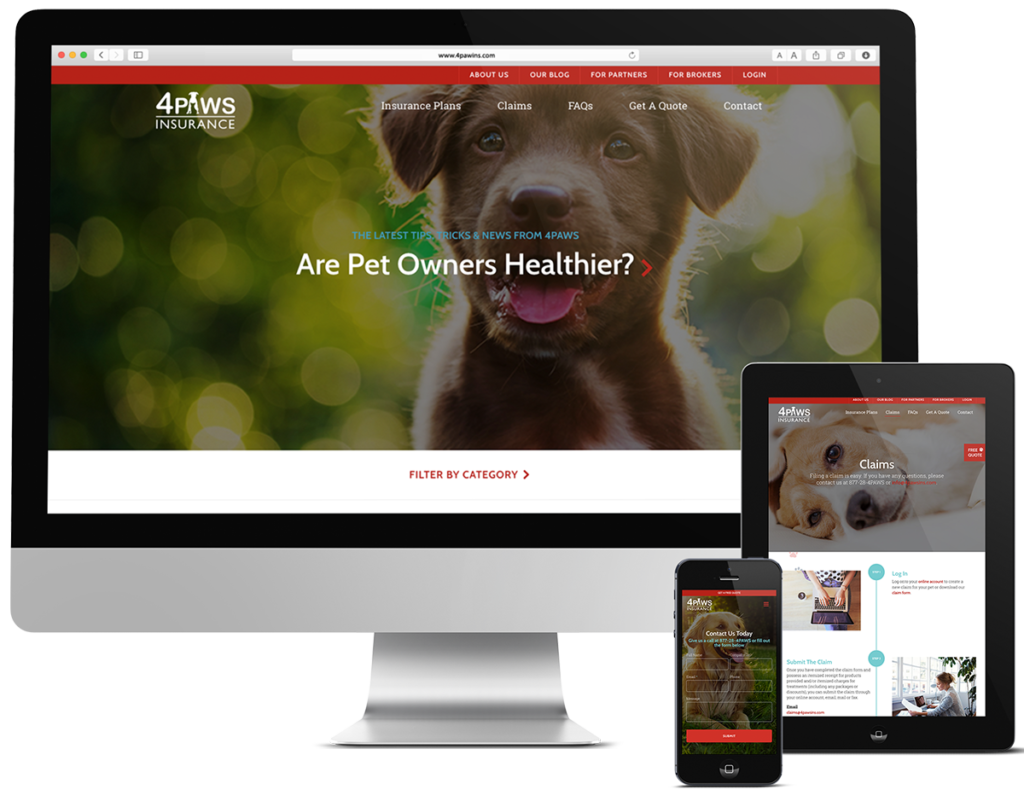 Dog and Pet Website for NSM 4Paws Insurance