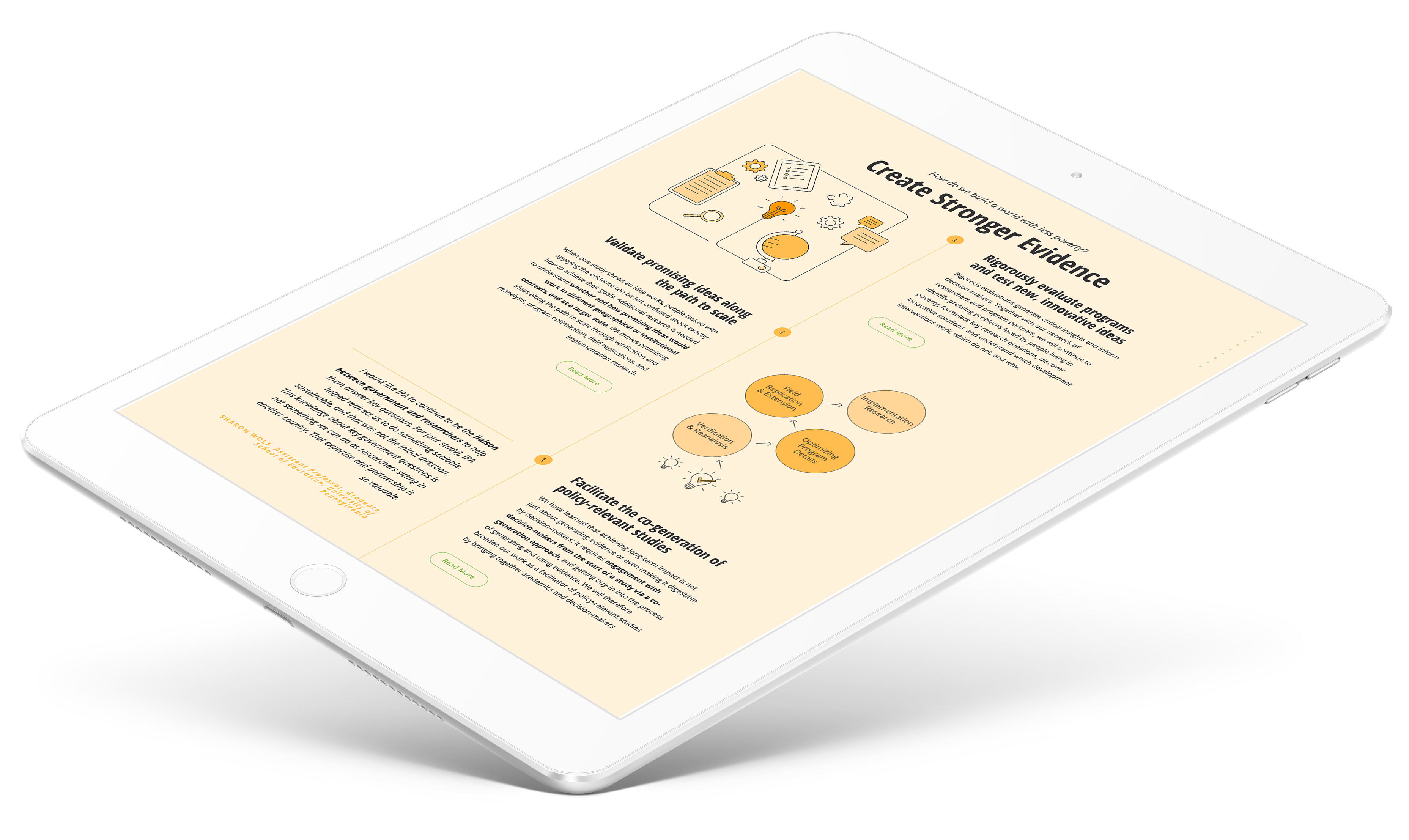 IPA Website Design Infographic on Tablet