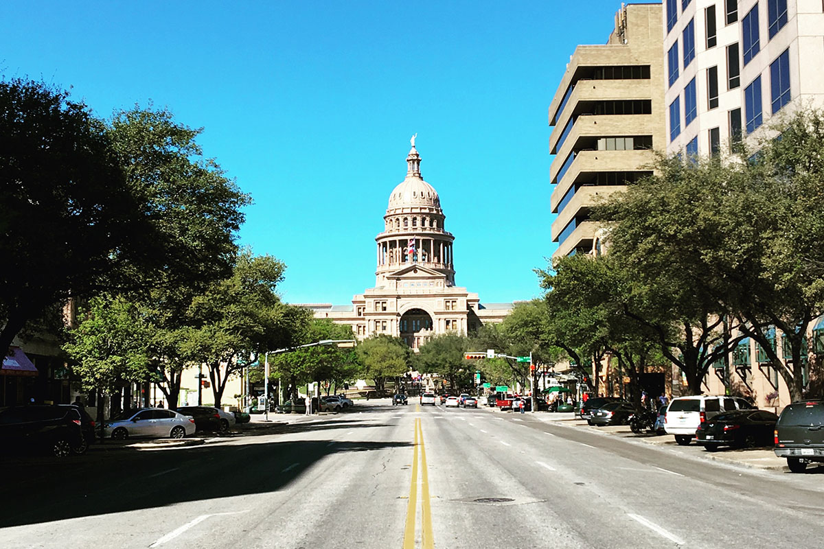 View of Austin Capital building during SXSW