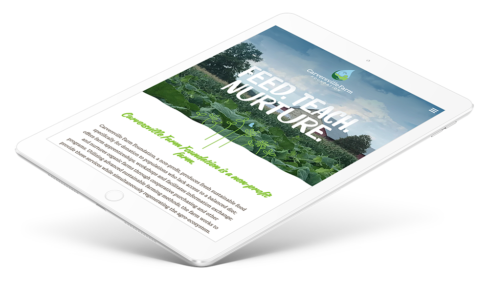 Responsive design for nonprofit farm shown on tablet