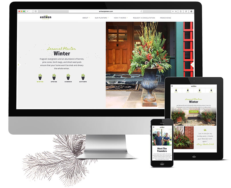 Responsive web design for Philadelphia planter service shown on devices