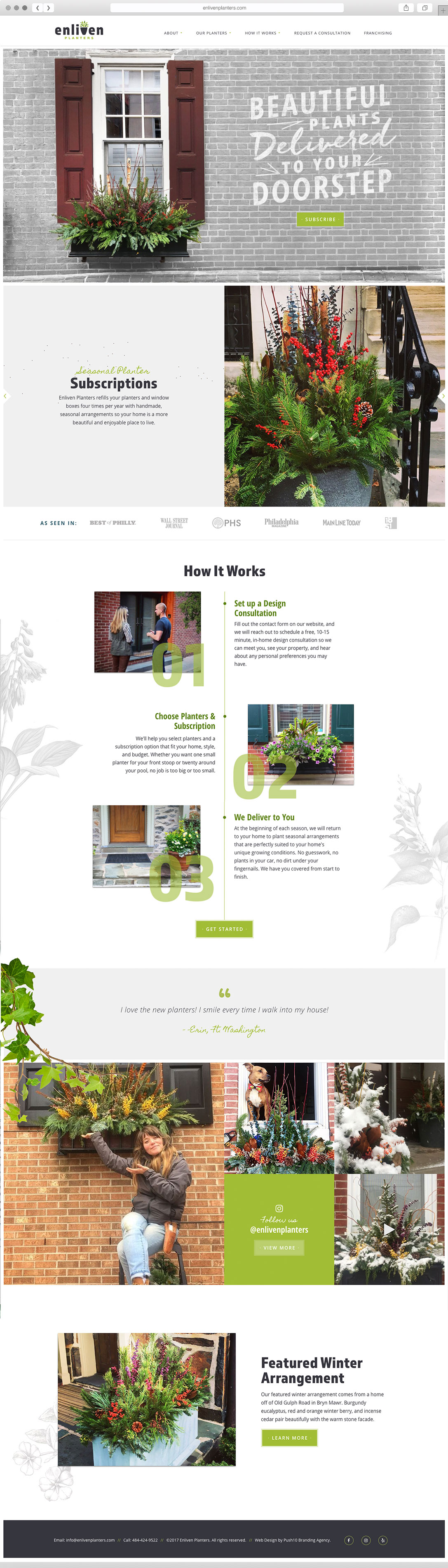 Website Design and Development for Enliven Planters Landscaping in Philadelphia