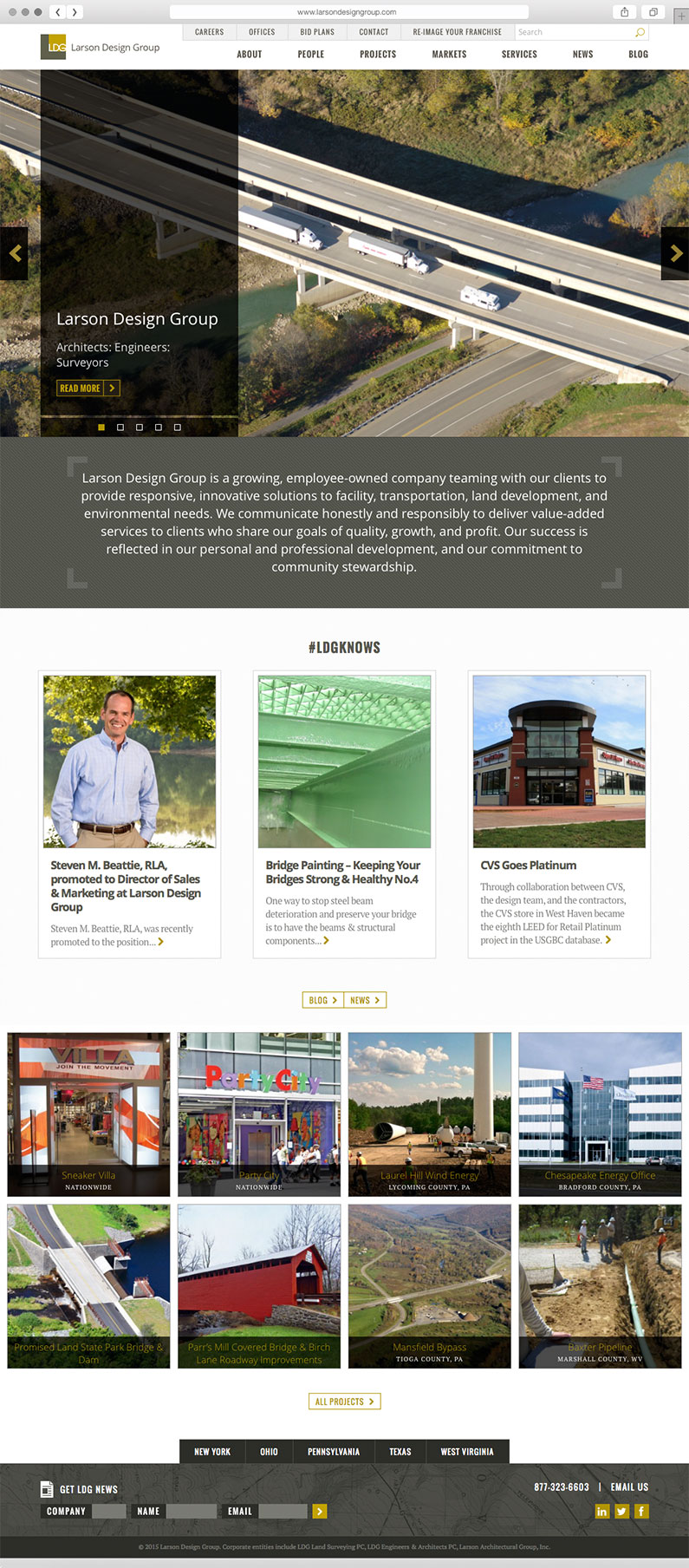 Full Page Website Design for Engineering Firm, Larson Design Group, Sitemap Planning, Website Design, Web Design, Web Development, Larson Design Group site