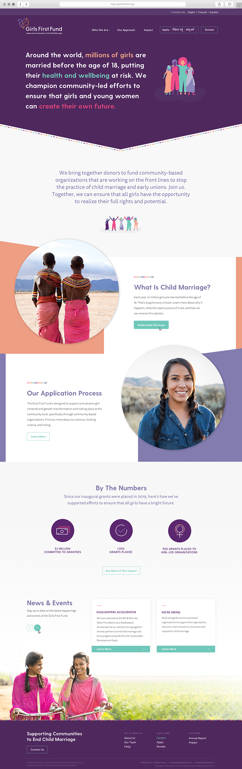 Custom website design for Girls First Fund by Push10