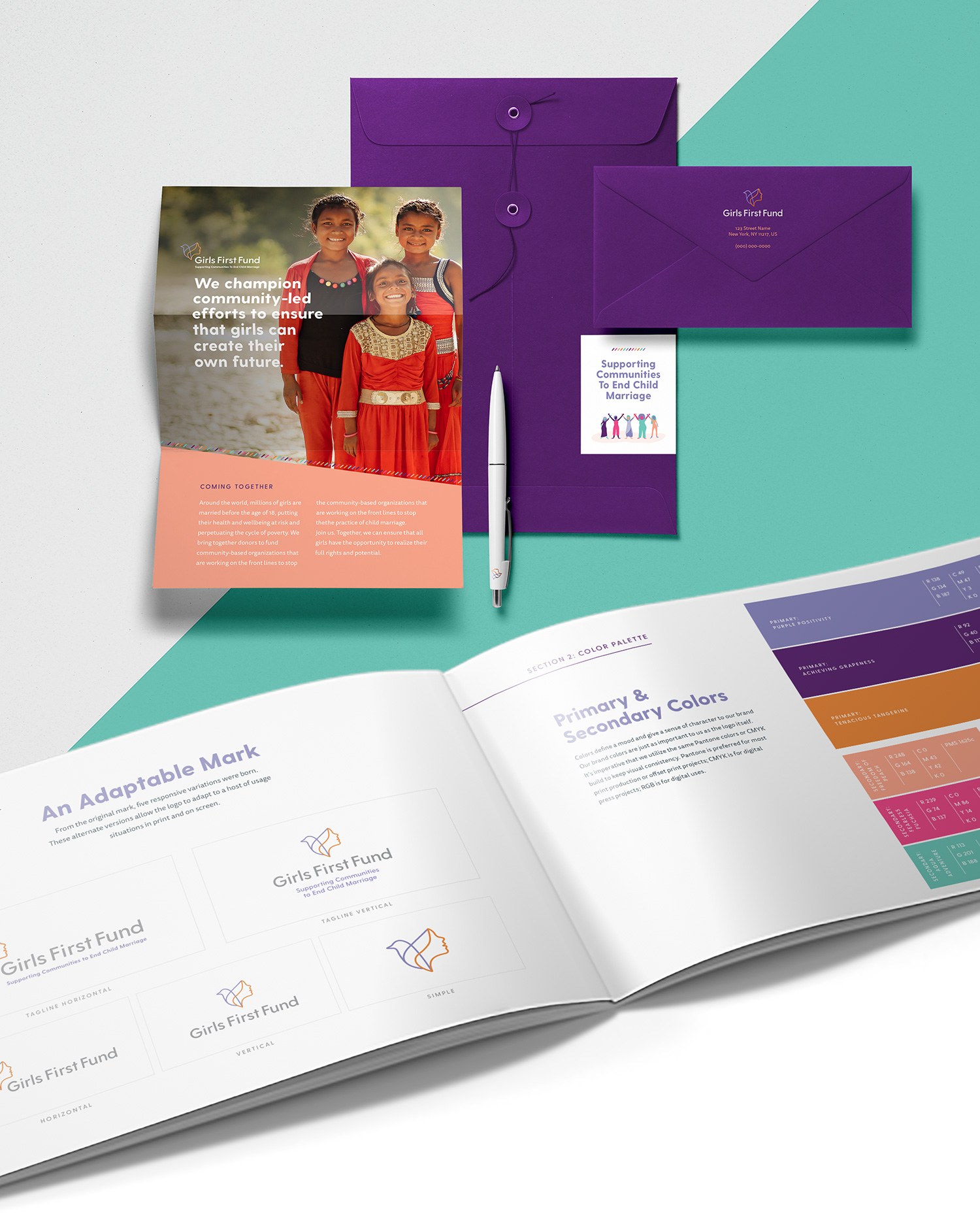 Custom Branding Strategy and Design shown on stationary and brand book for Philadelphia nonprofit