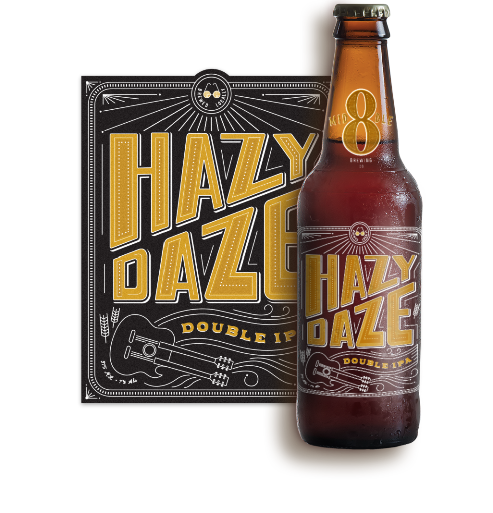 Logo and Label Design for Middle 8 Brewing's Hazy Daze Double IPA Beer