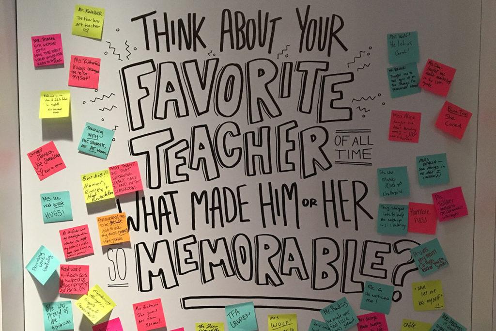 sxsw ibm post it wall of favorite teachers