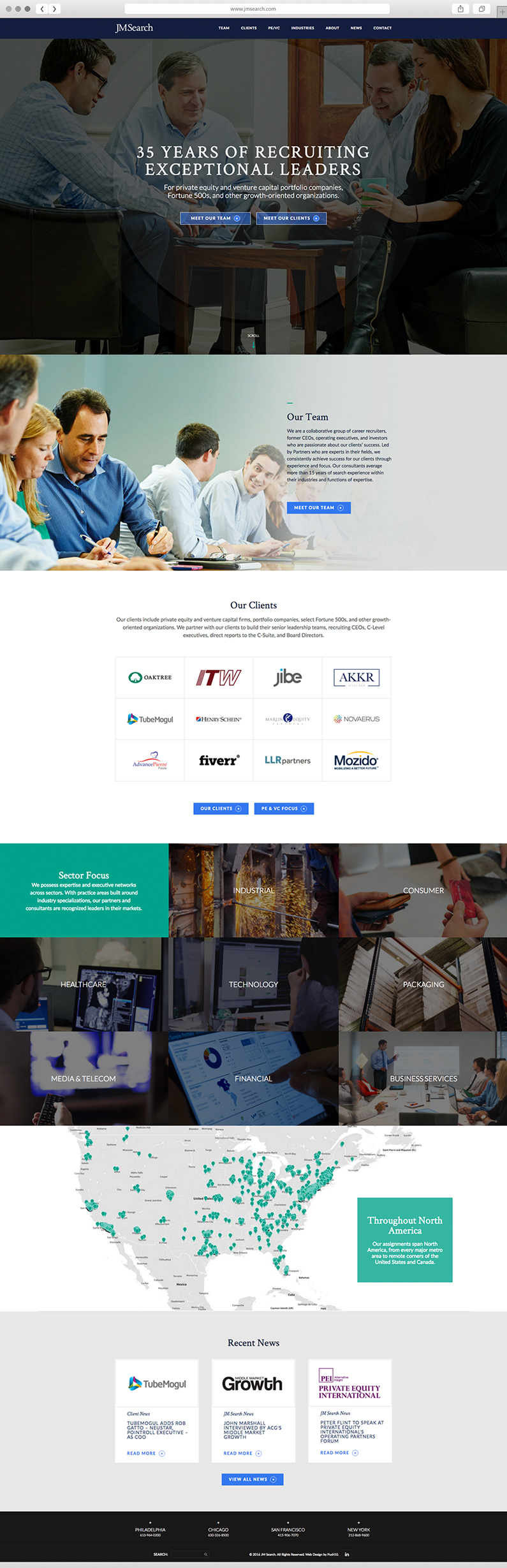 UX design and web development for executive search firm in Philadelphia, JM Search, Web design, responsive web design, web design agency, digital marketing, web development and design, wordpress sites, push10, jm search site