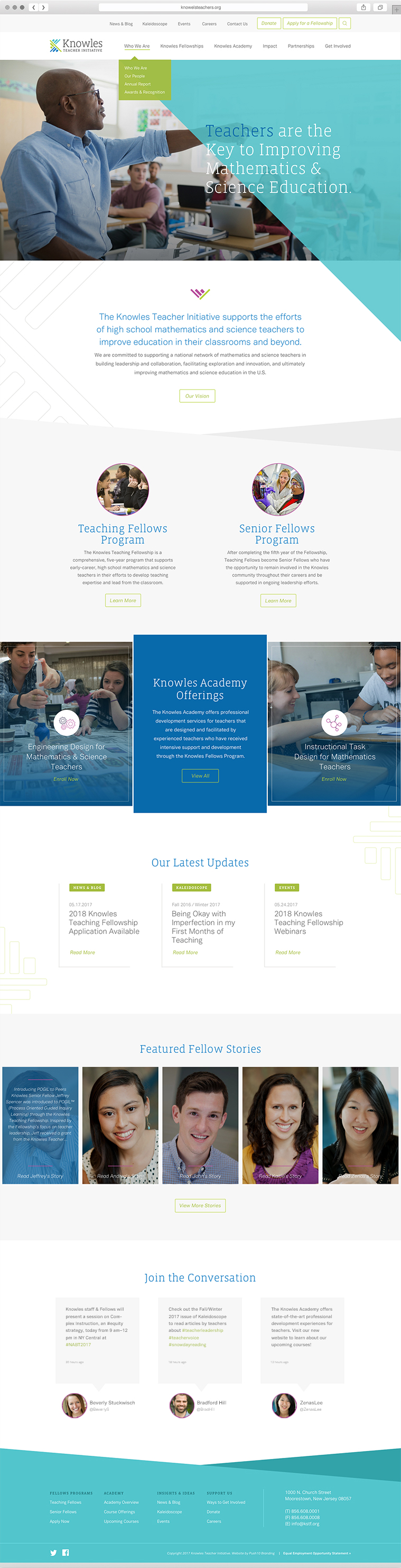 Knowles Teacher Initiative Philadelphia Branding Web Design Homepage