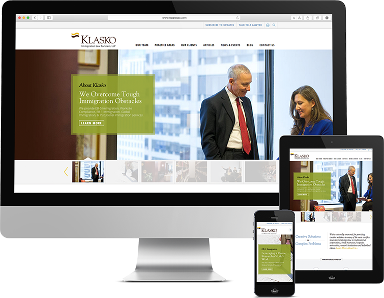 Responsive web design for Klasko Law, a law firm based in Philadelphia, klasko, klasko law, web design, legal web design, push10, philadelphia web development