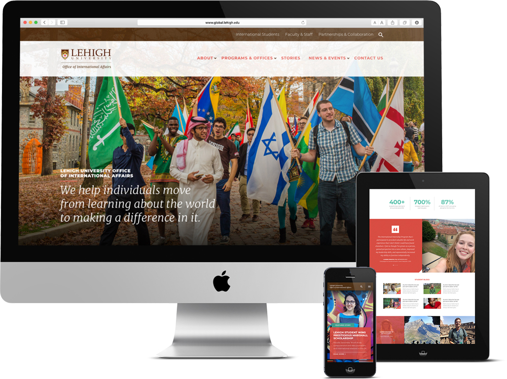 Responsive web design for Lehigh University near Philadelphia