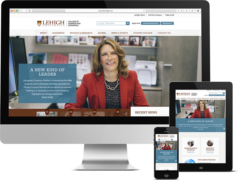 Responsive Website Interface Design for Lehigh University College of Business and Economics shown on Mobile Devices, Lehigh University, Lehigh University Logo, Lehigh University Logo Design, Push10, Philadelphia, University web design, higher ed web development, web design for college