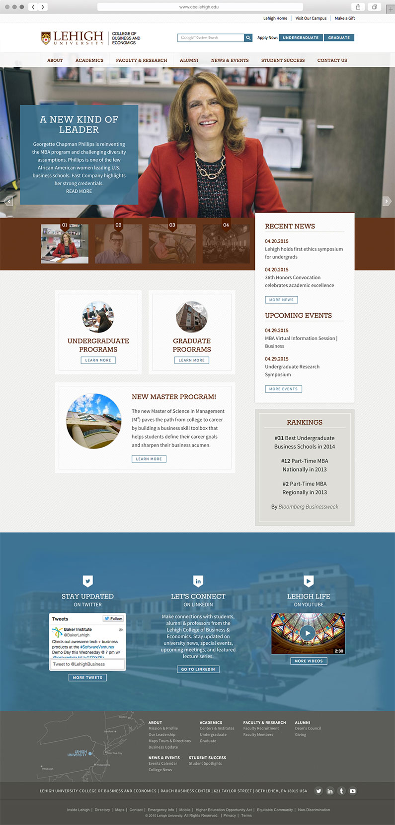 Website User Interface Design for Lehigh University College of Business and Economics, Lehigh University, Lehigh University Logo, Lehigh University Logo Design, Push10, Philadelphia, University web design, higher ed web development, web design for college