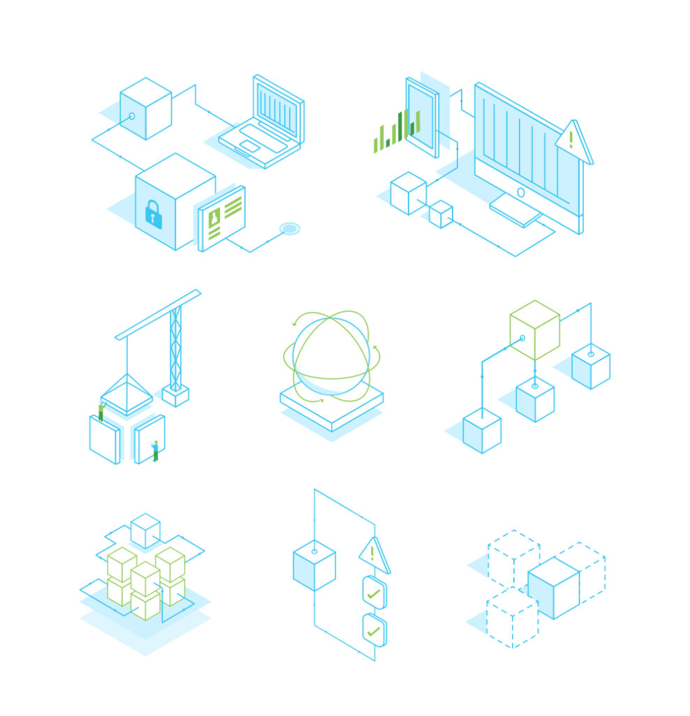 A series of modern illustration icons for a technology company