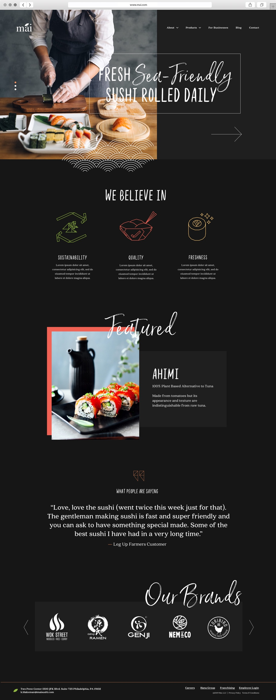 web design for sushi brand home page