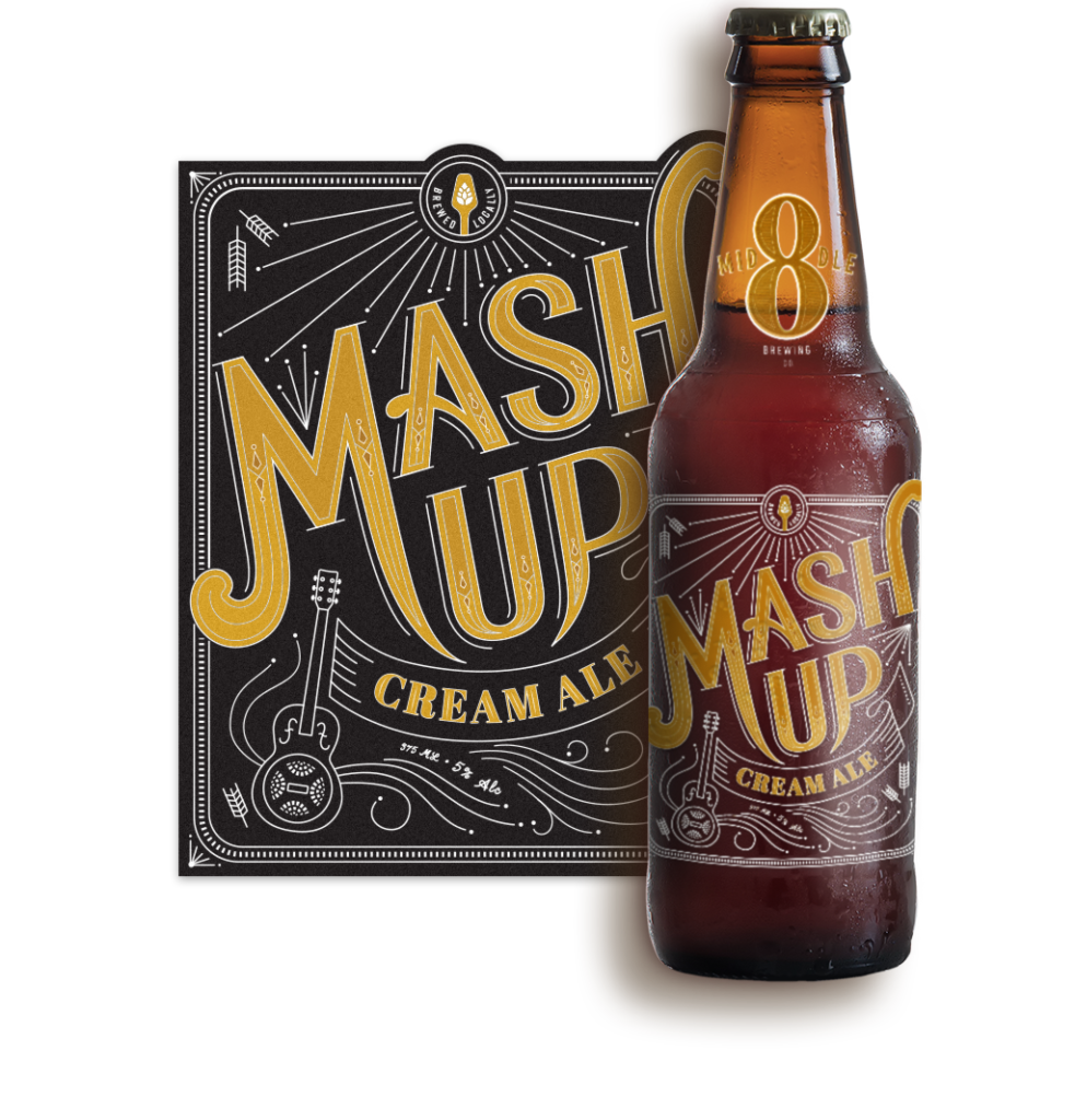 Logo and Label Design for Middle 8 Brewing's Mash Up Cream Ale Beer
