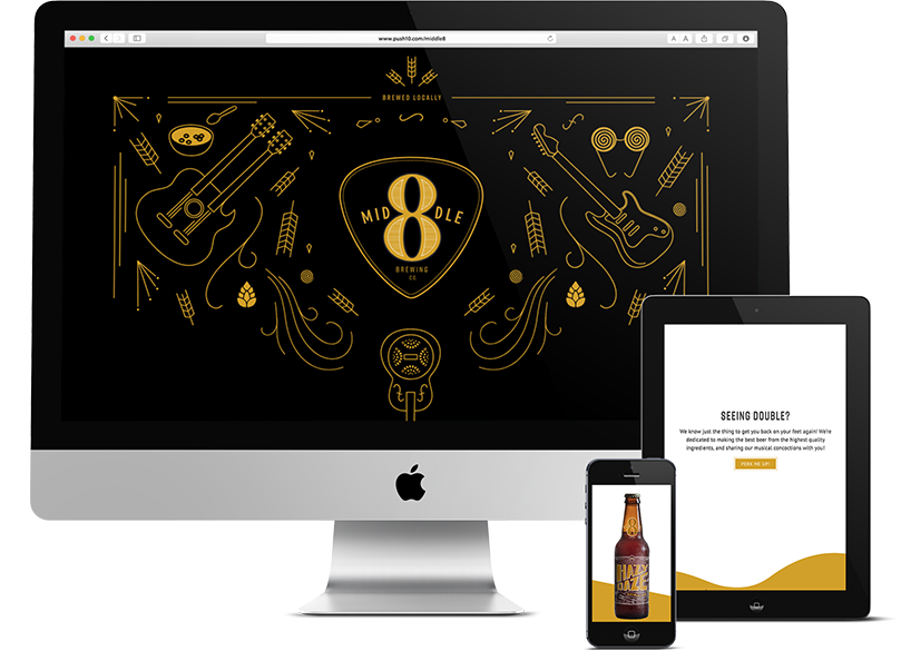 Push10 Branding Web Design and Development for Middle 8 Brewing