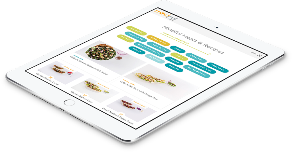 Push10 Website Strategy for Healthy Living brand shown on a tablet.