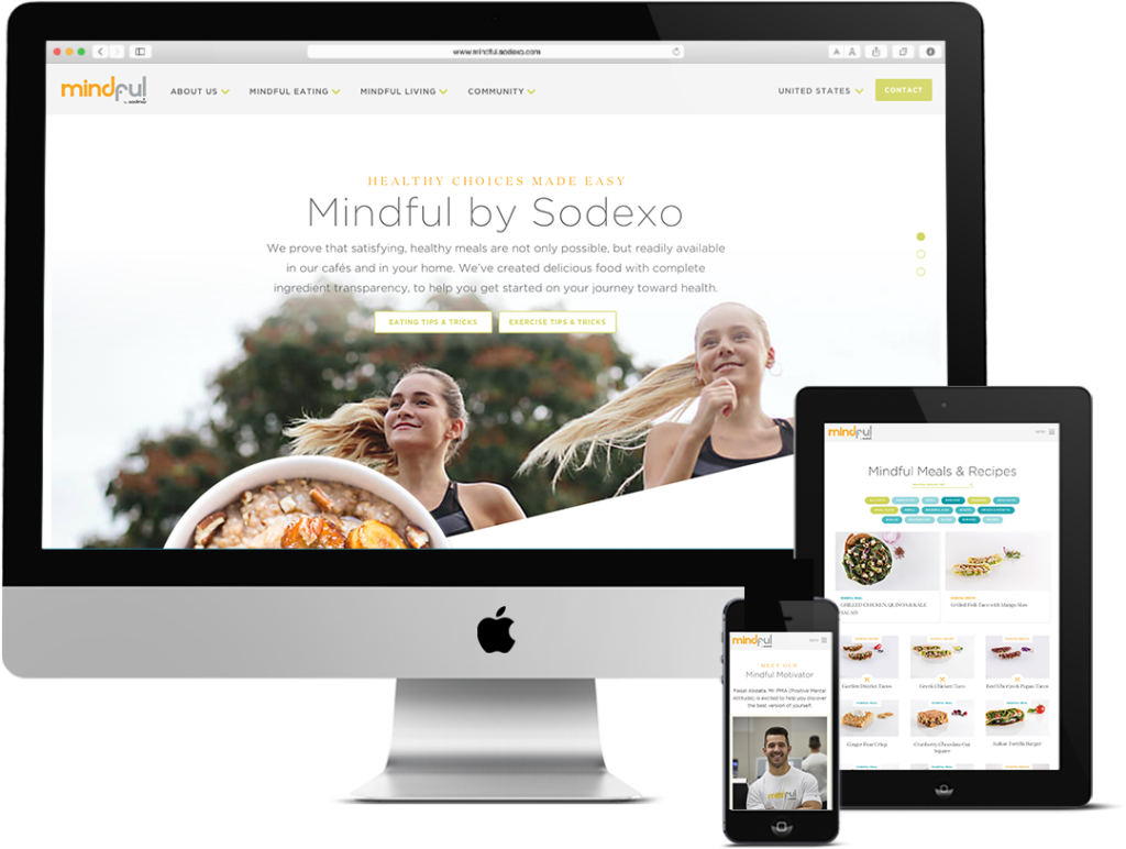 Push10 Responsive Web Design for Healthy Living brand shown on multiple mobile devices
