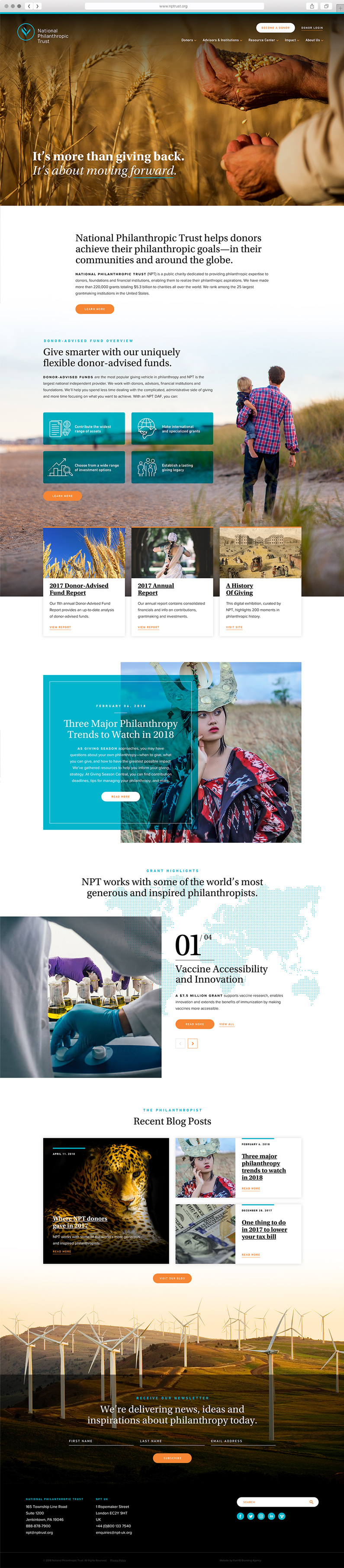 Web Design for National Philanthropic Trust, a Philadelphia area nonprofit public charity