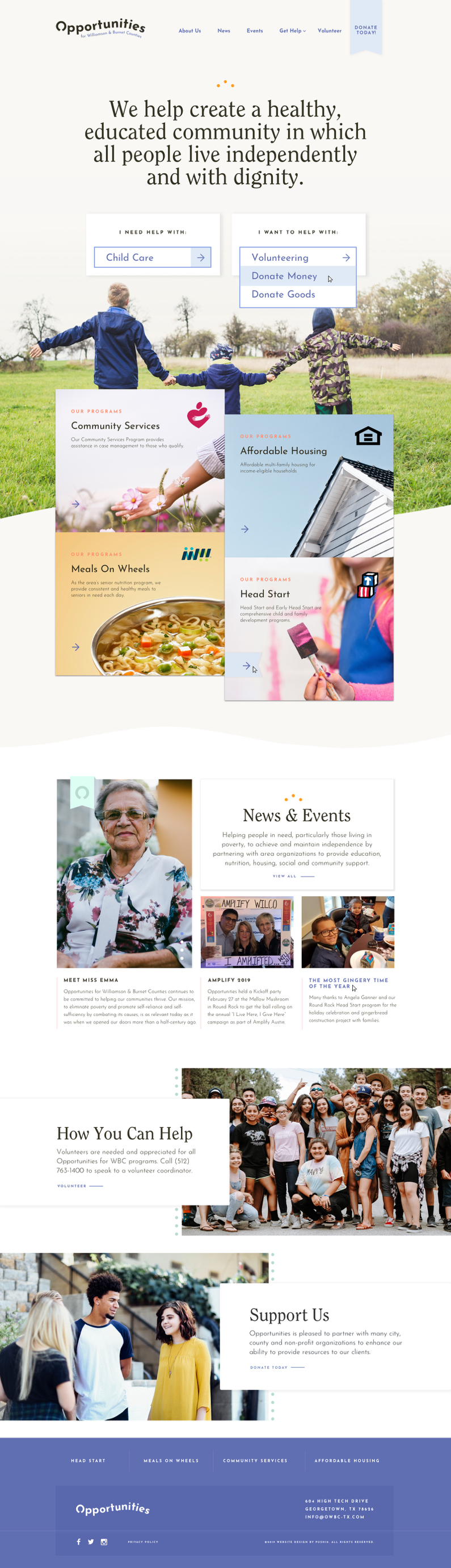 Responsive web design for Austin-based nonprofit organization