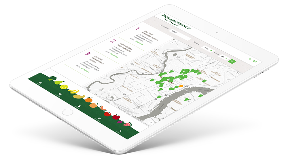 Interactive Philadelphia map design for Philabundance shown on tablet device