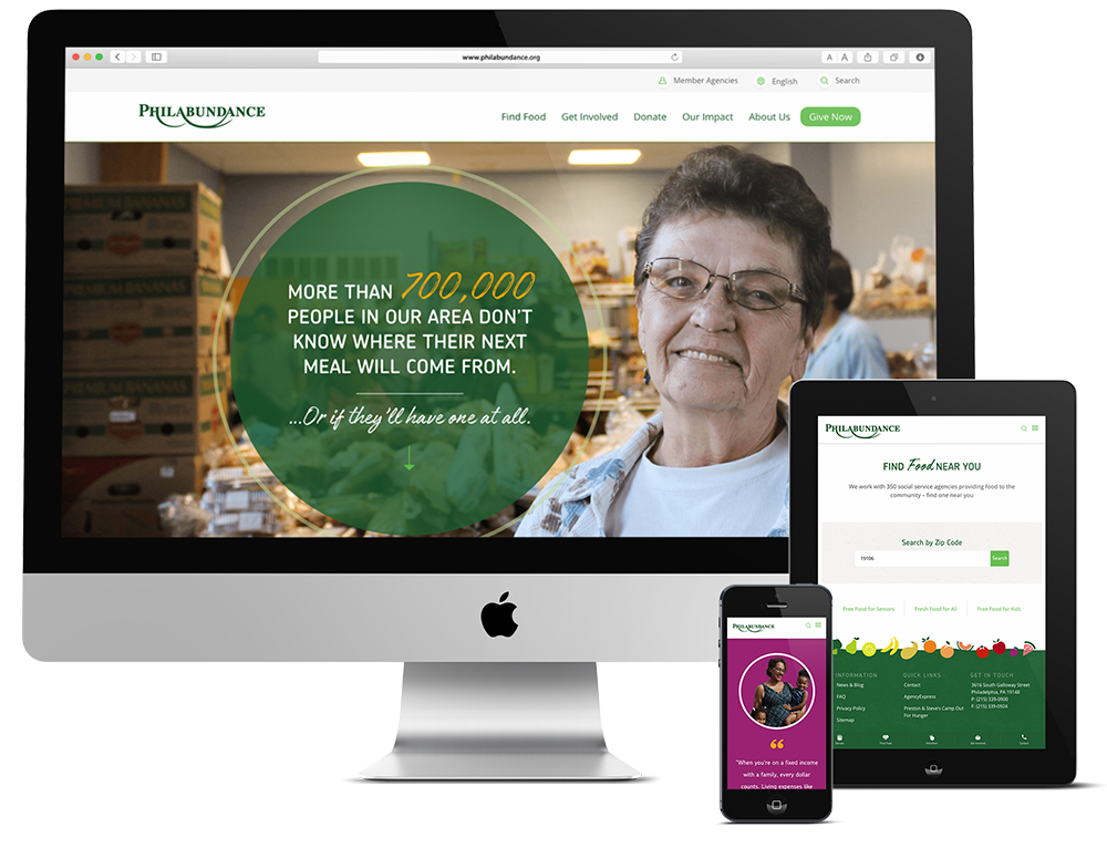 Philadelphia Non-profit web design shown on desktop, tablet and mobile devices