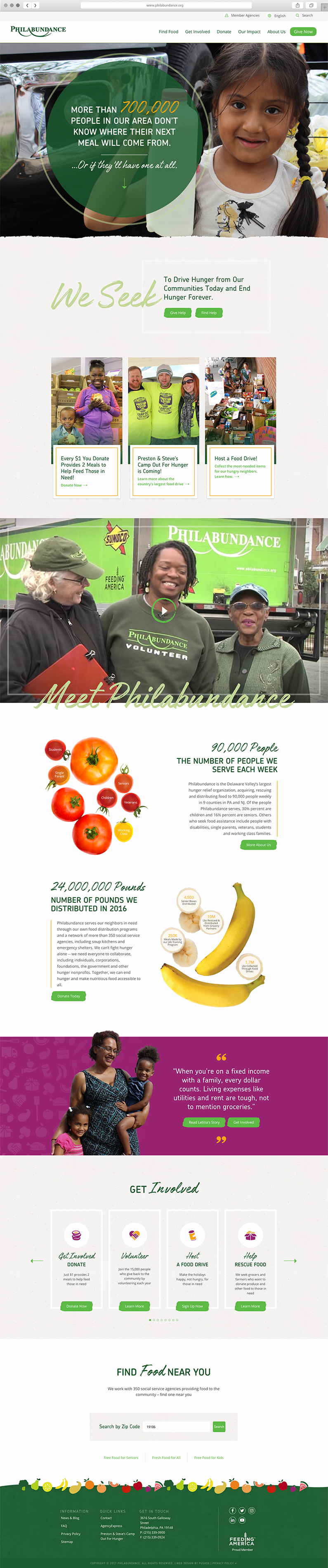 Homepage user interface design for Philabundance