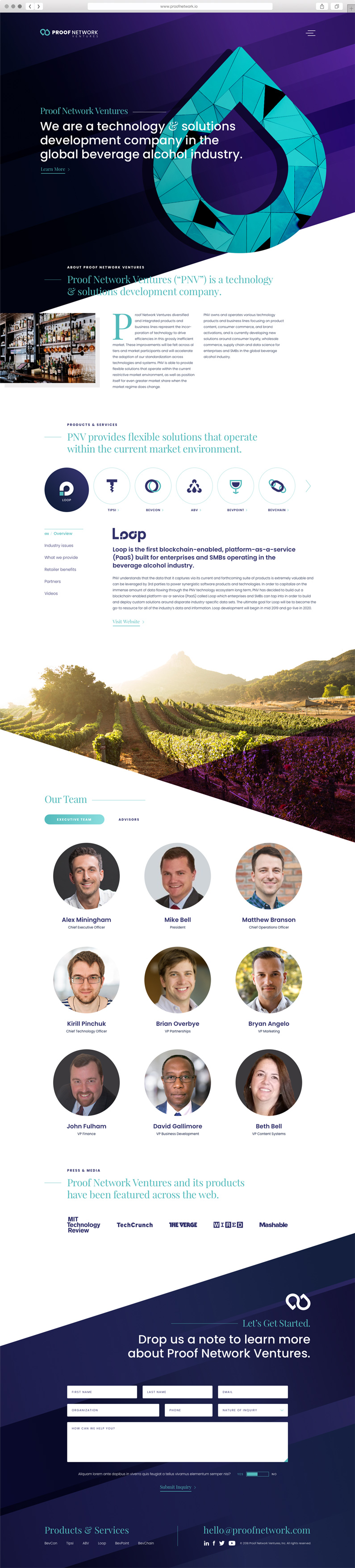 Web Design for Proof Network Ventures, a Philadelphia-area technology company