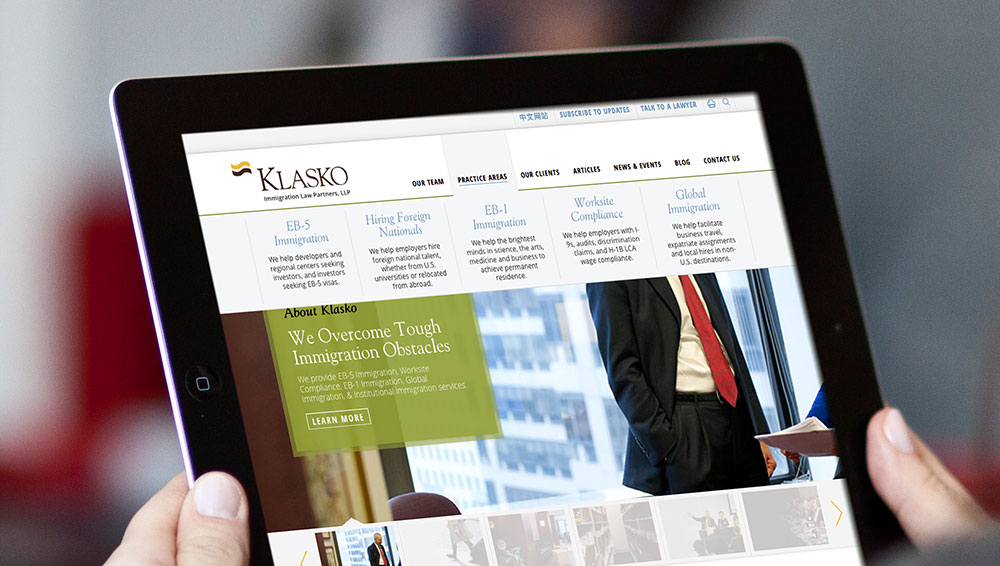 klasko law website, responsive web design, law firm website, digital marketing