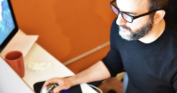 Graphic designer working on logos in Philadelphia
