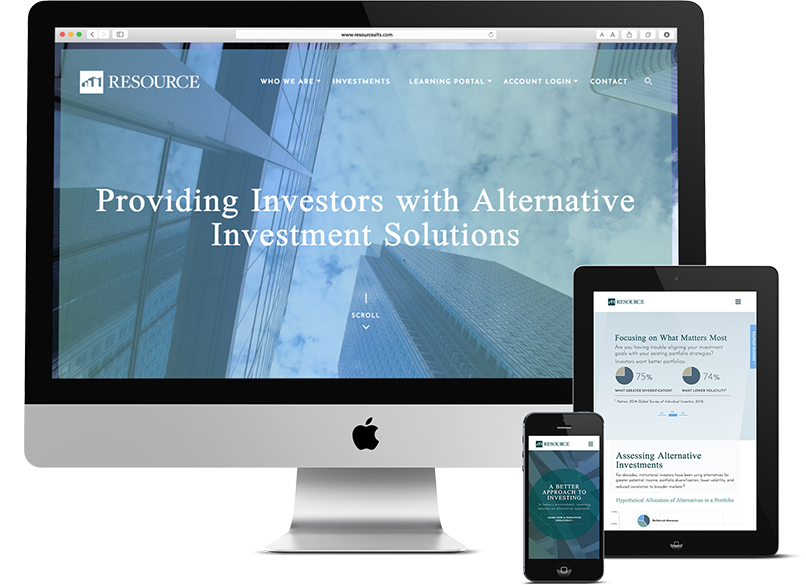 Investment company website design on devices