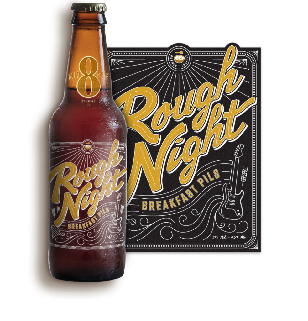 Logo and Label Design for Middle 8 Brewing's Rough Night Breakfast Pils Beer
