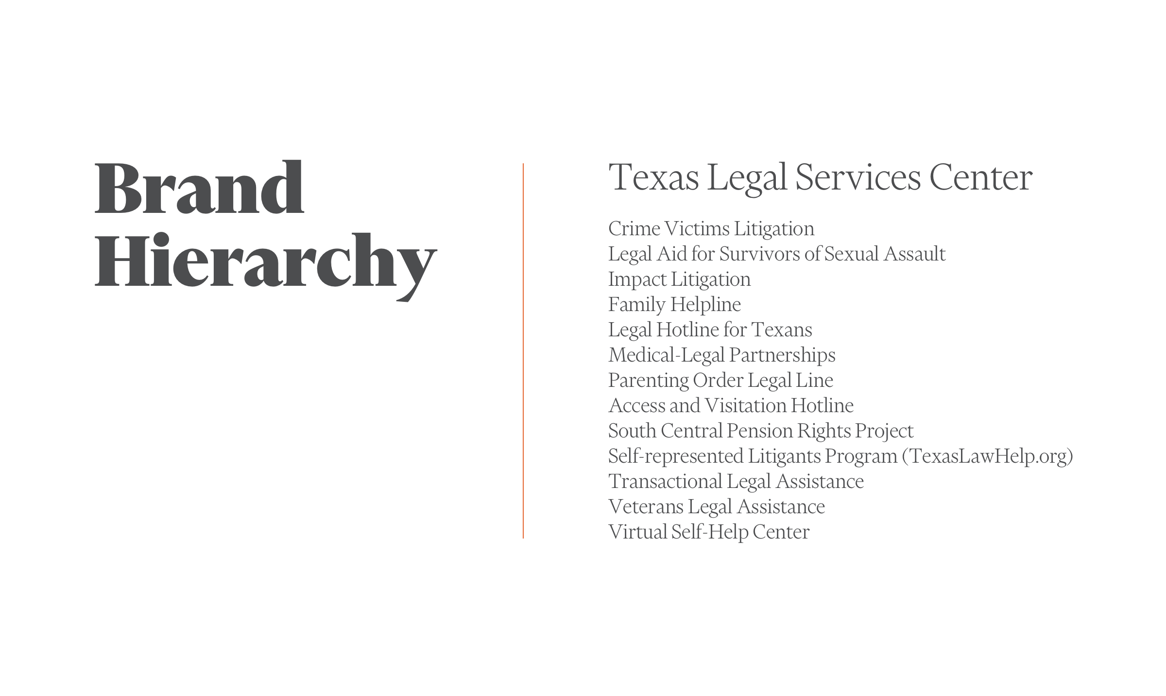 What is brand hierarchy? TLSC's former organization