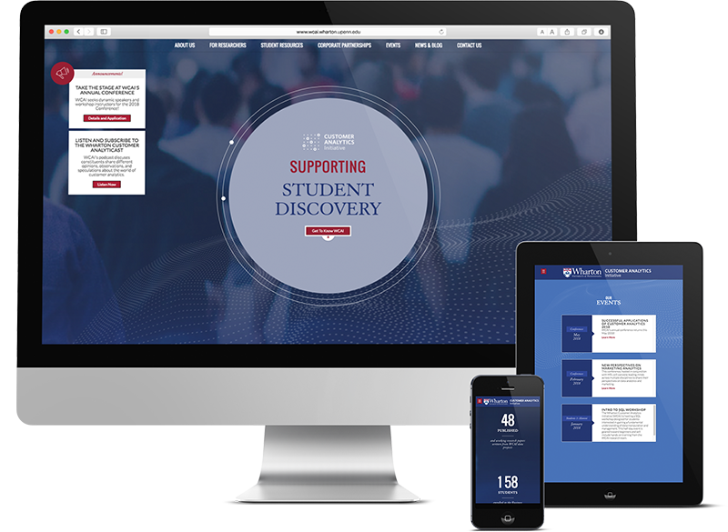 Responsive Web Design for Philadelphia Higher Education, wharton, web design process, web design, push10, web development, strategy, Wharton Customer Analytics Initiative, Wharton, Web design, website design philadelphia, push10, responsive web design
