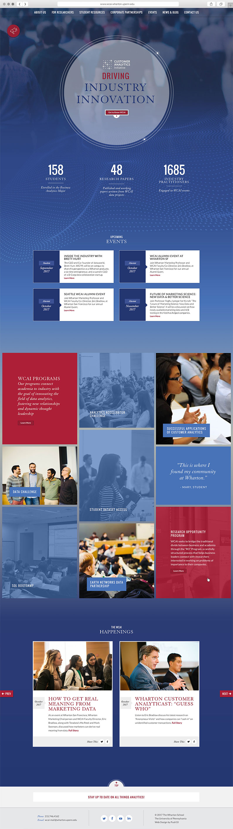 Responsive website user interface design for Wharton, UPenn