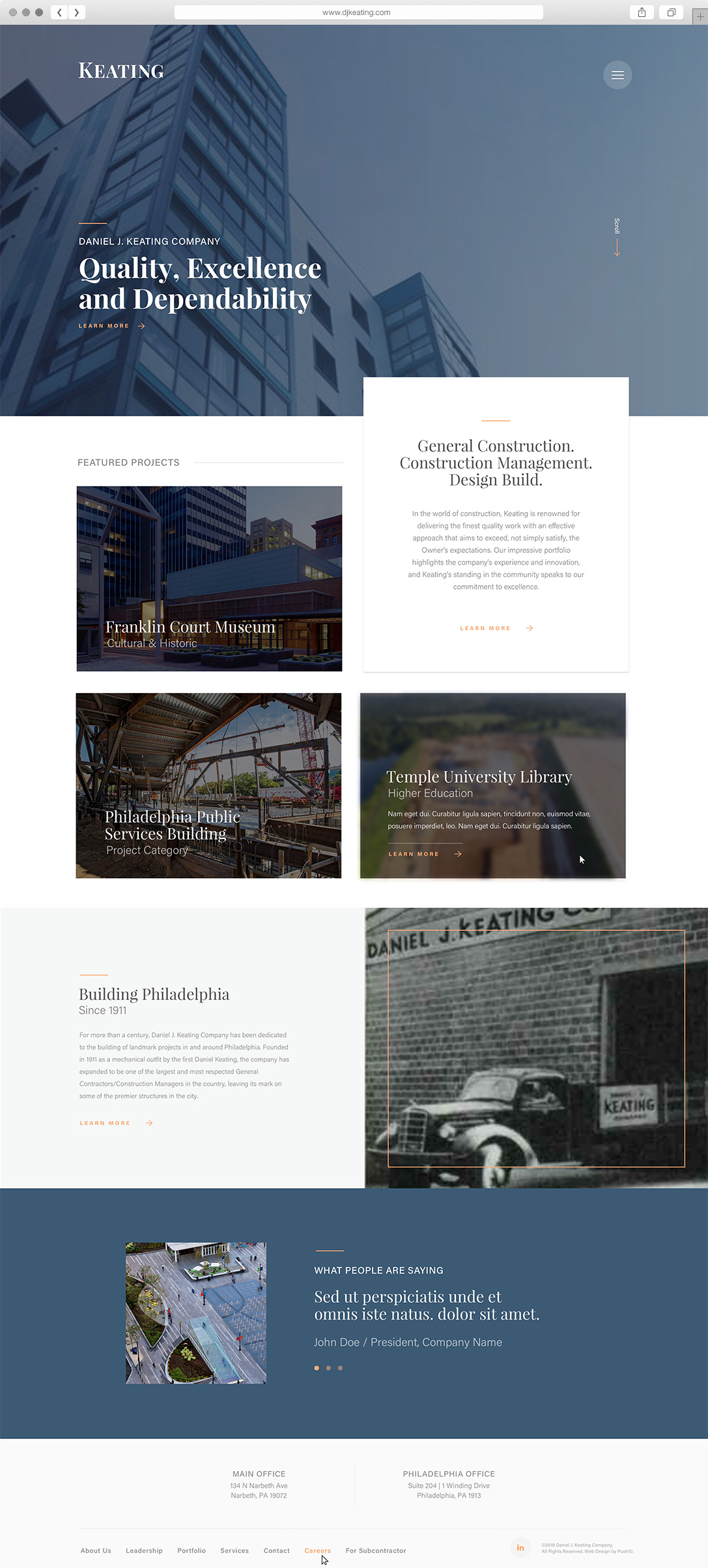 Website design for Philadelphia construction company