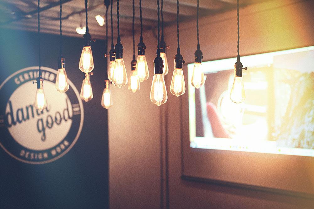 industrial lightbulbs at Push10 office