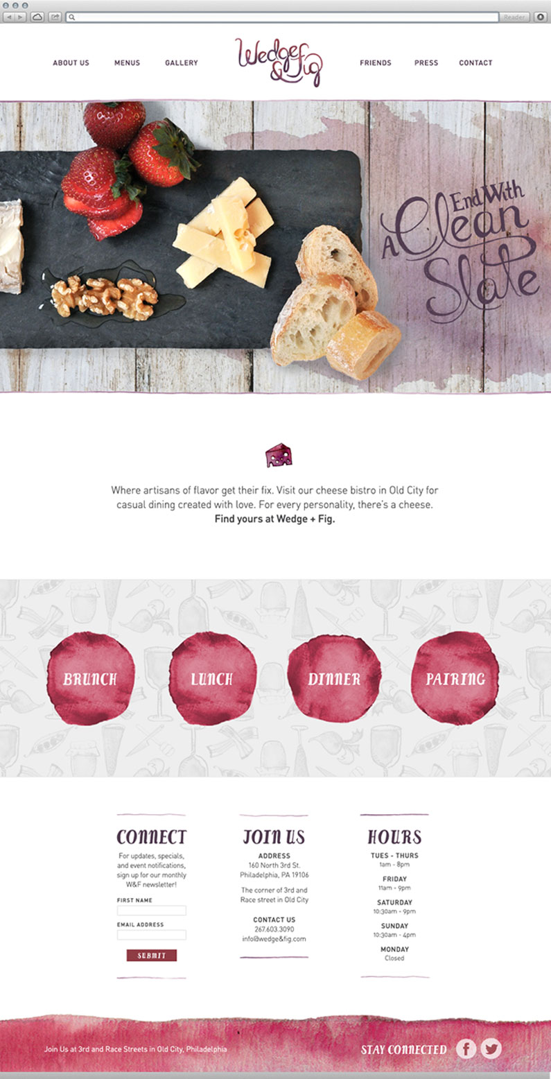 Wedge and Fig Website Design Long Scroll Page with Custom Illustrations and Icons by Push10