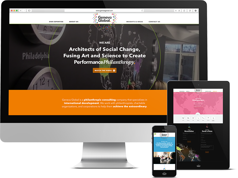 Responsive website design for mobile devices, NPO digital marketing, Geneva Global, Geneva Global Website, Push10, Philadelphia, Custom Photography, Web Design, Web Development, non-profit website design