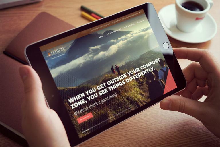 Higher ed responsive web design shown on tablet
