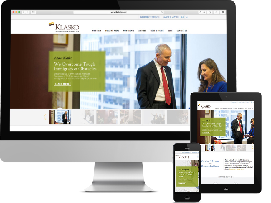 Klasko Law Responsive Web Design, law firm web design, push10, philadelphia web design, philadelphia law firm, klasko website