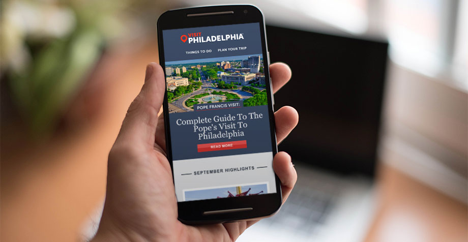 Responsive Mobile Email Newsletter for Visit Philadelphia, mobile email marketing