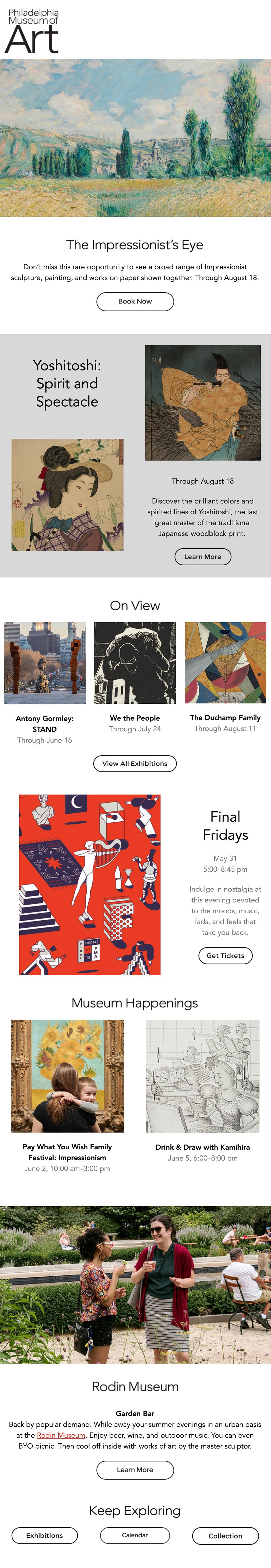 Philadelphia Museum of Art Email Newsletter Design Layout