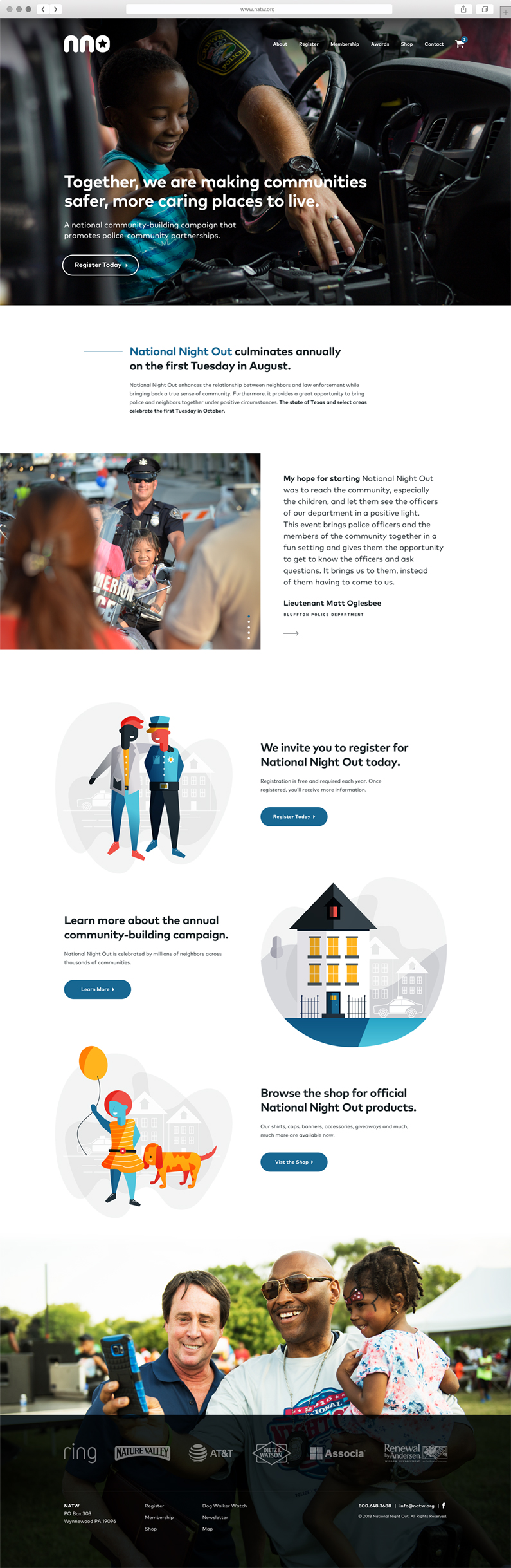 UX Strategy and Web design for National Night Out, a Philadelphia nonprofit