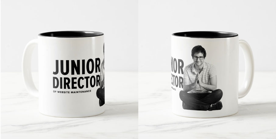 Noah Rush, Junior Director of Website Maintenance, push10 holidays, graphic and print designed mug