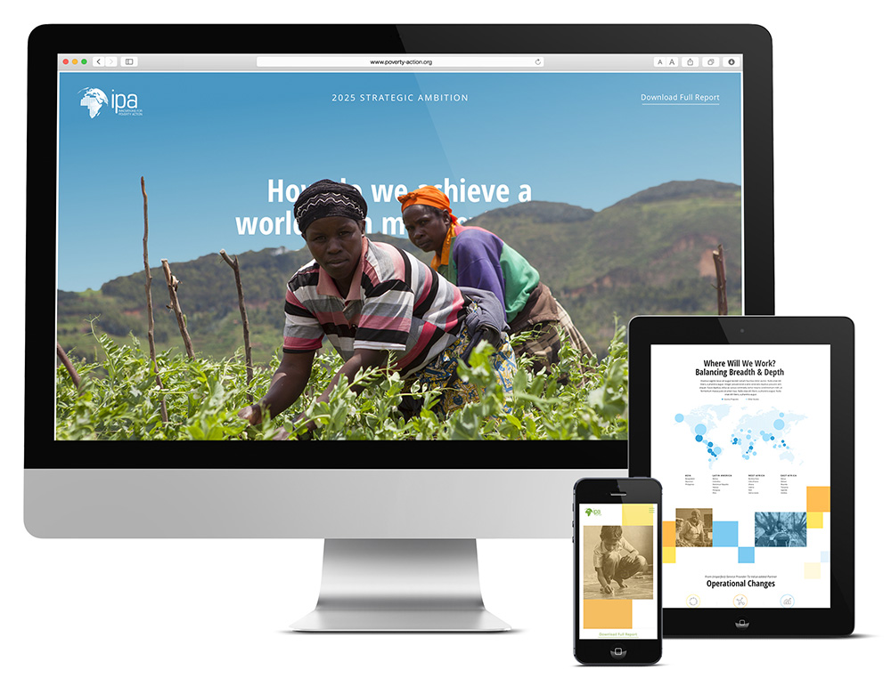 Responsive web design for a nonprofit organization shown on multiple screens